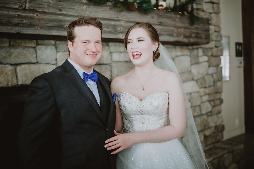 Winter wedding bridal portraits.