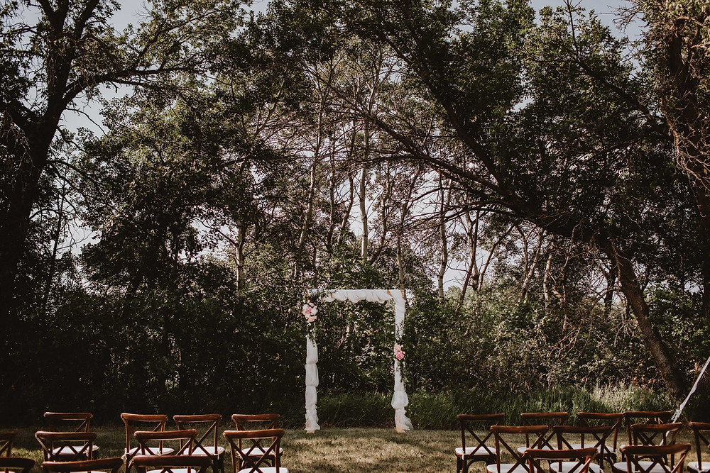 Intimate, backyard July wedding in Manitoba.