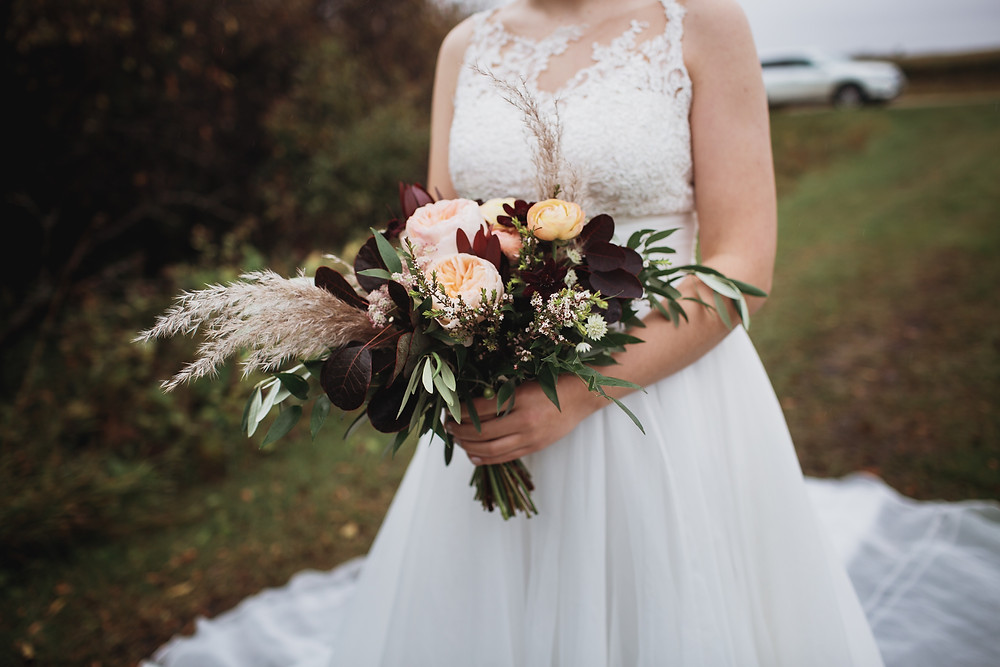 Fall bridal bouquet by Earth Buds Florist.