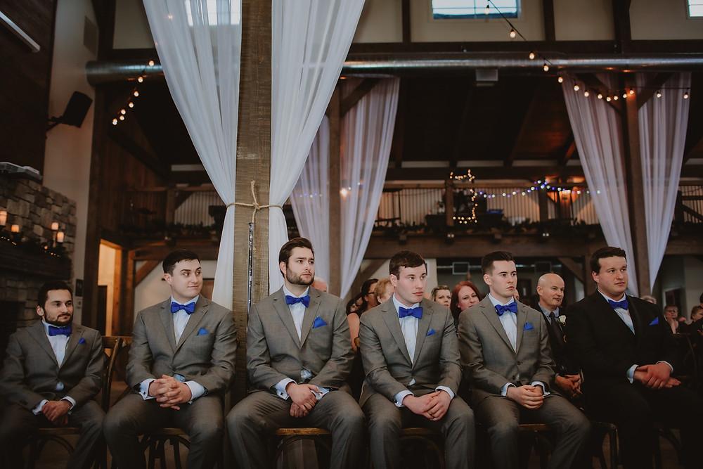 Groomsmen during Manitoba wedding ceremony.