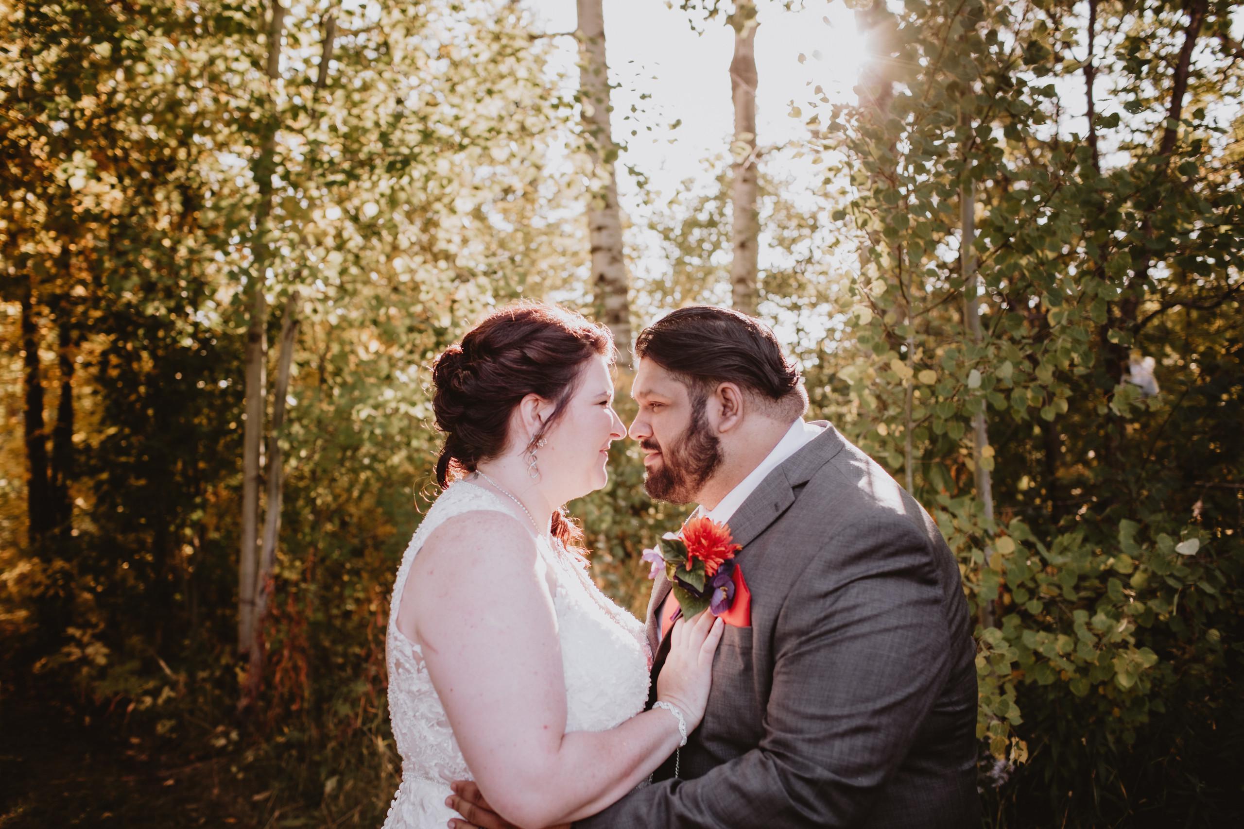 Wedding Couple Touches Noses