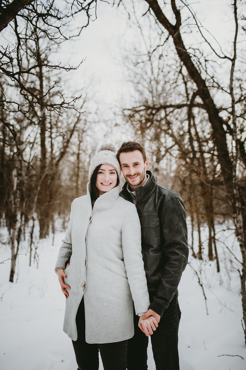 Winter engagement portraits in Winnipeg, Manitoba.