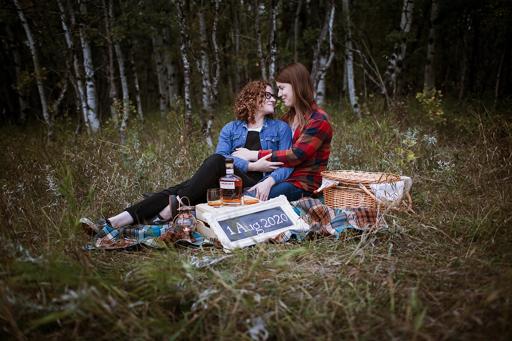 Fall, picnic engagement session.