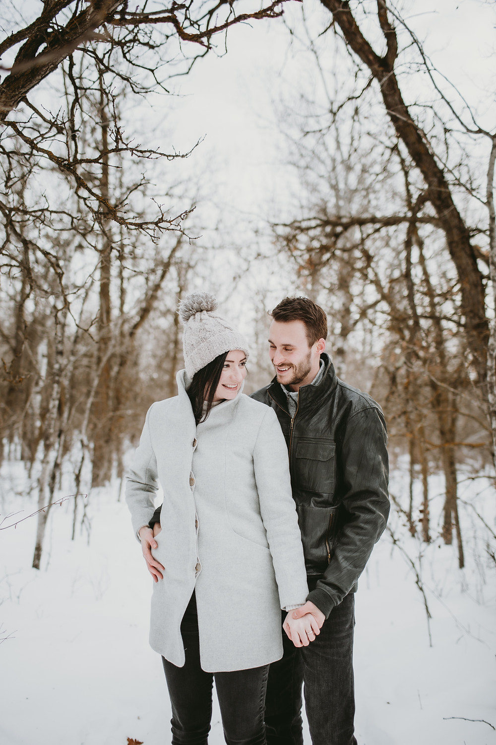 Winter forest engagement session.