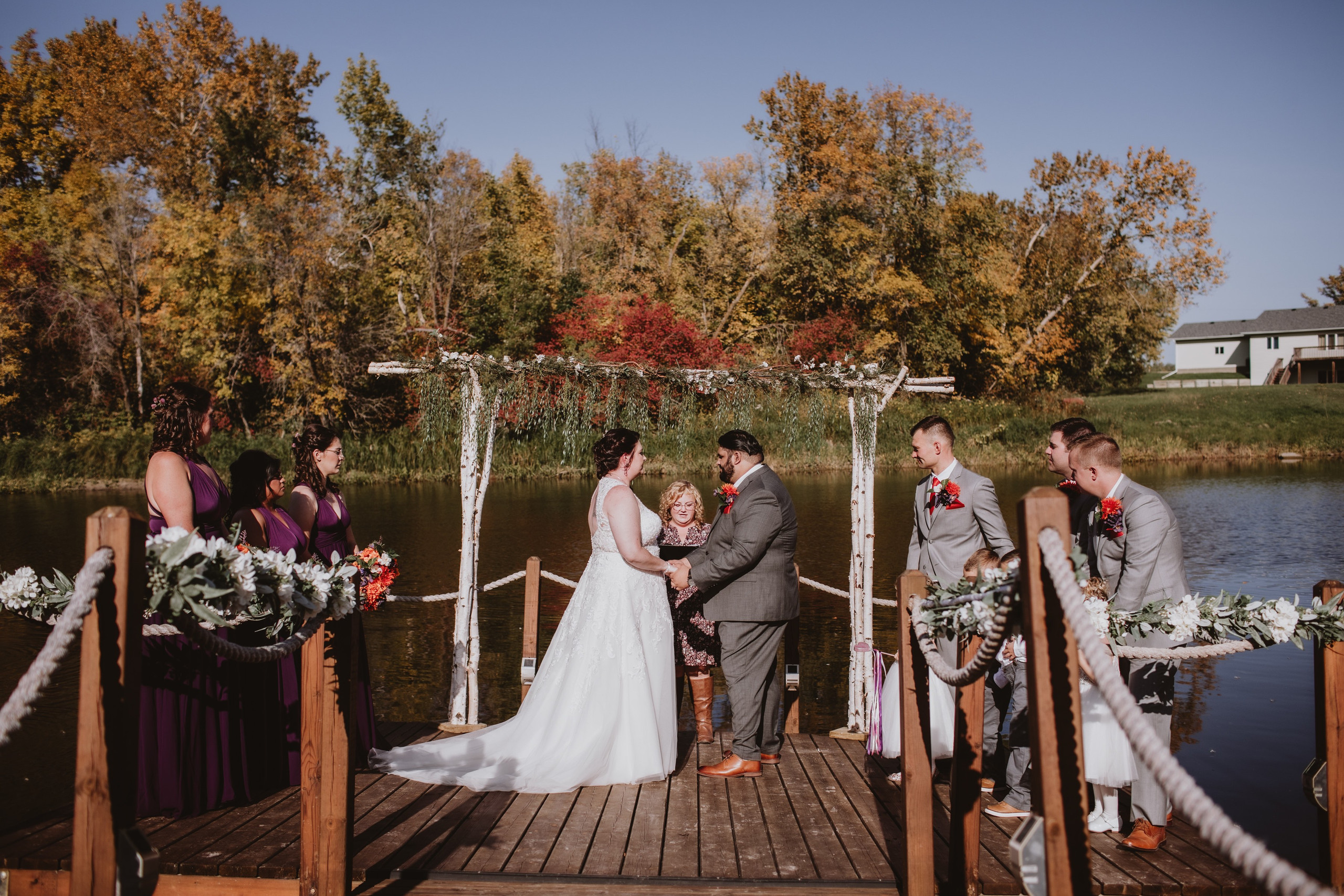 Fall Dock Wedding Ceremony at Rivers Edge Resort.