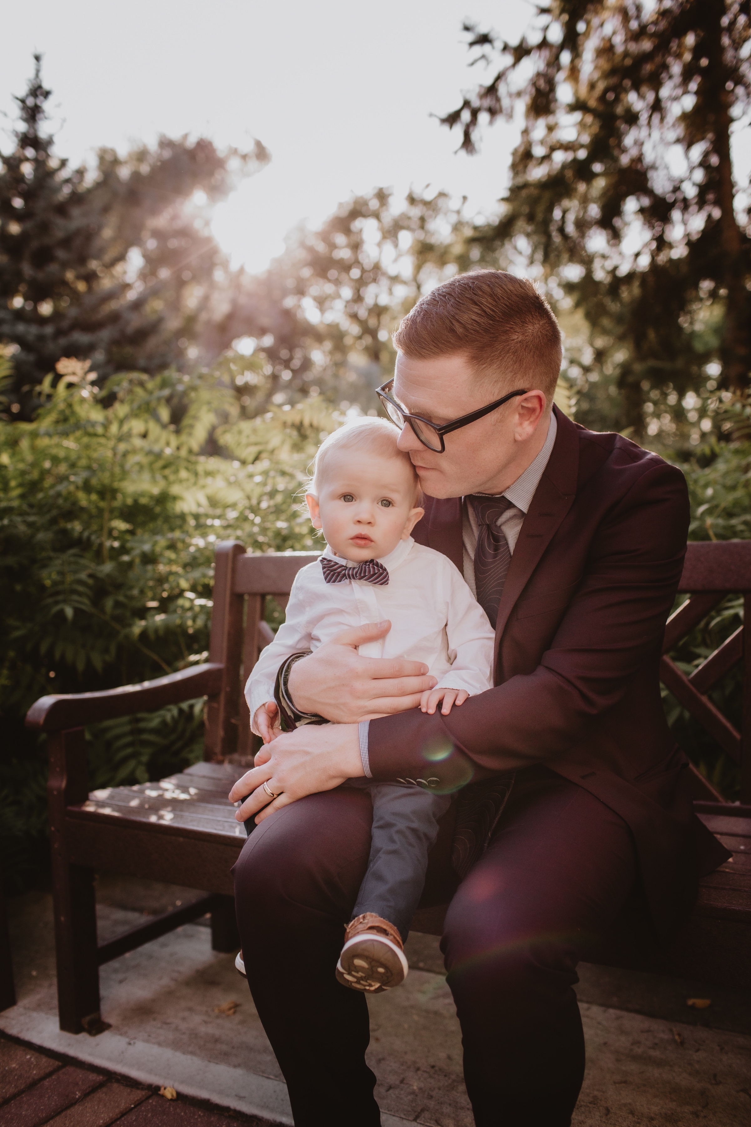 Groom and Son pose for portraits after micro wedding ceremony.