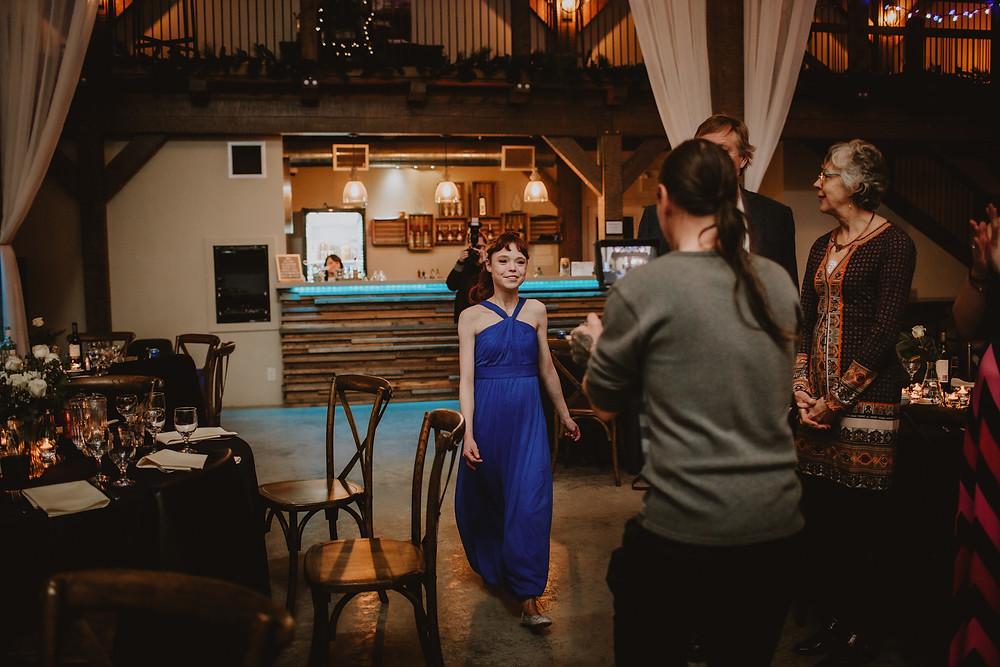 Bridal party wedding reception entrance.