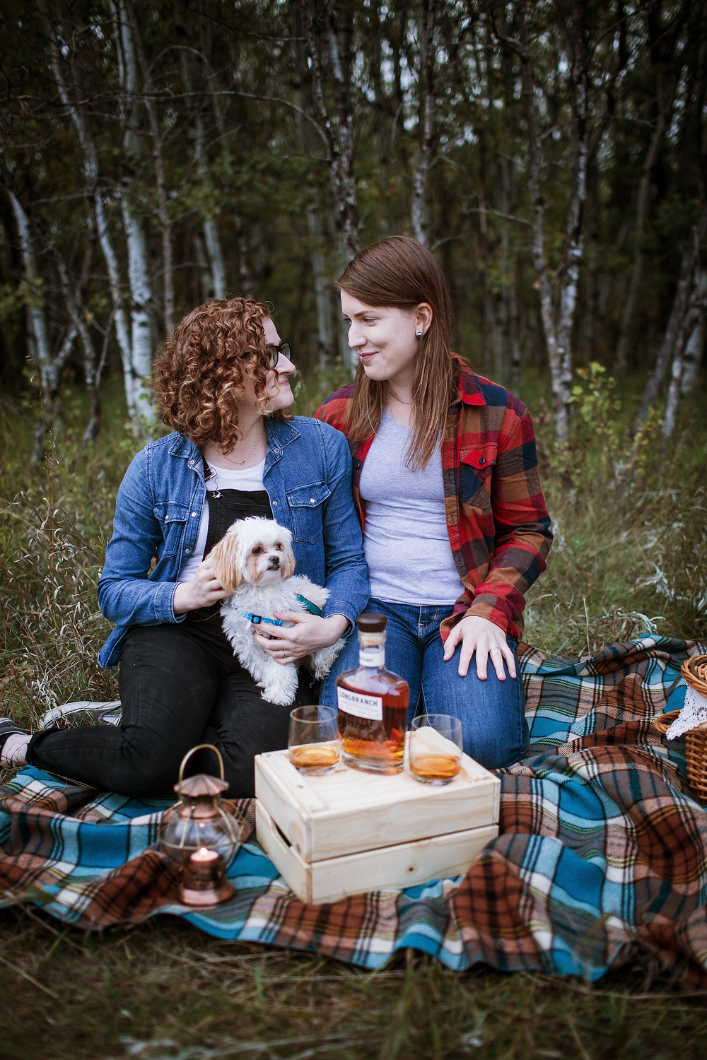 Fall engagement photos with puppy.