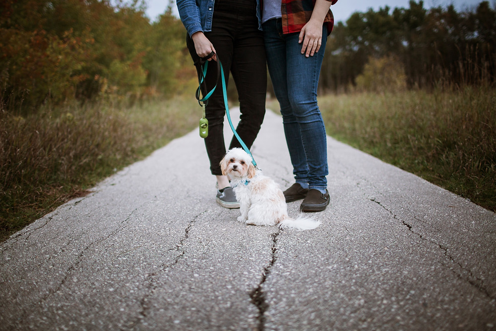 Small dog poses with dog-moms during engagement photo session.