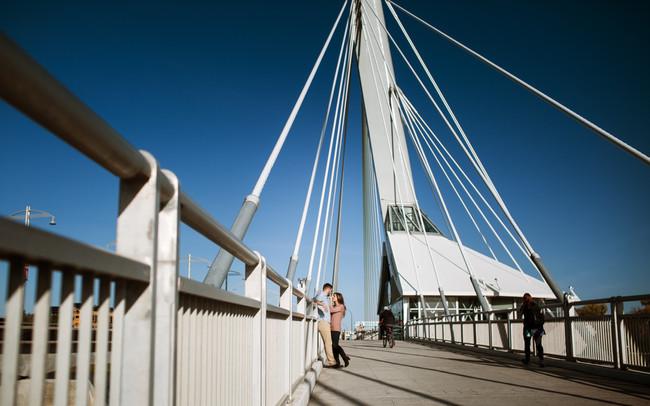 Engagement Session on Winnipeg's Provencher Bridge