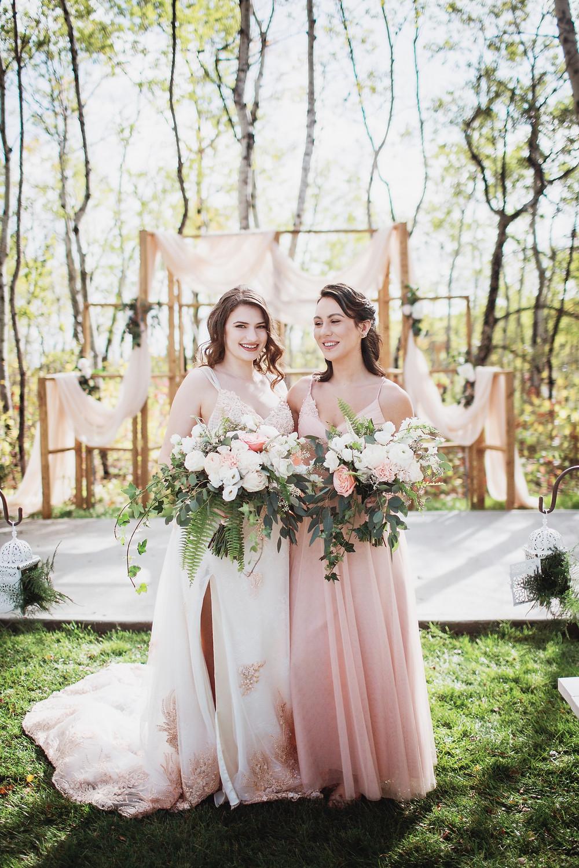 Bride and bridesmaid in Matlock, Manitoba.