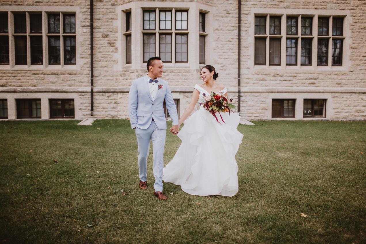 Wedding Couple Walk Across CMU Campus