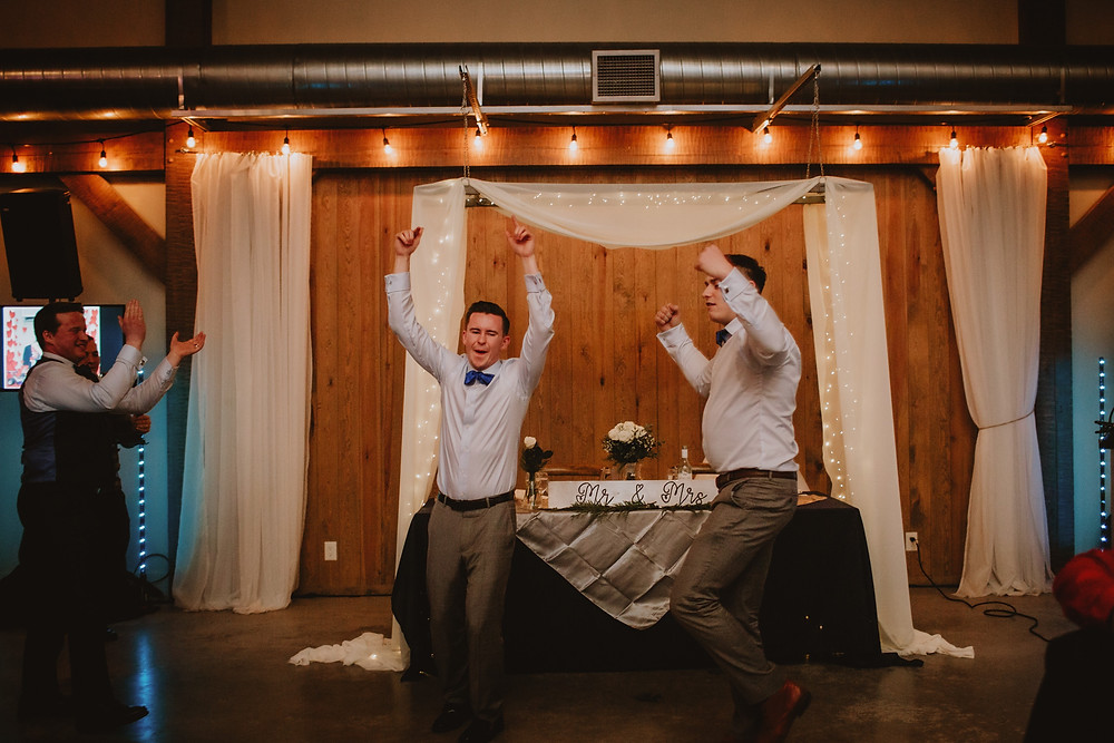 Groomsmen do a special dance number at wedding receptions.