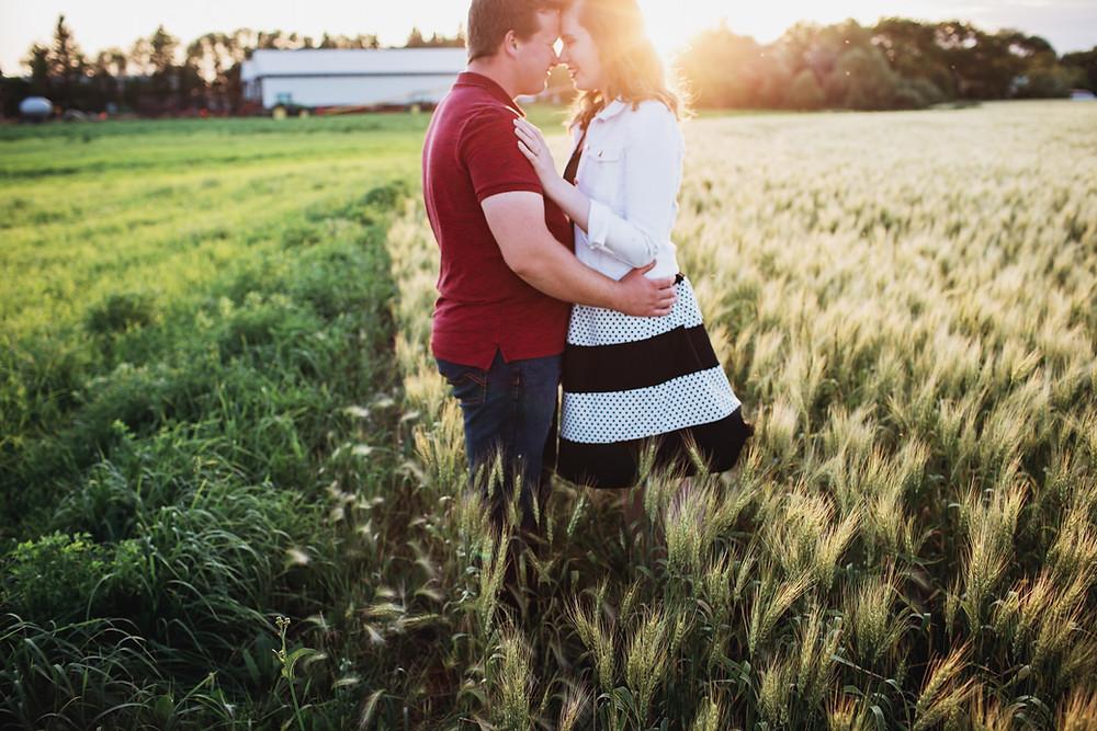Romantic sunset, farm engagement photo session.