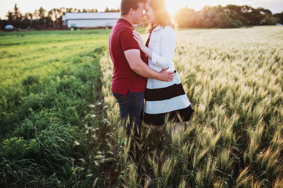 Summer Sunset Farm Engagement Photos