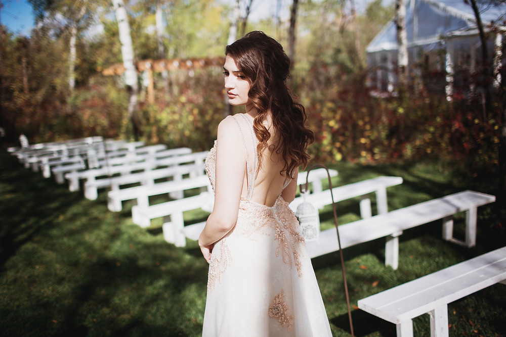 Blush bridal gown by Anna Lang, ceremony space by Kinloch Grove.