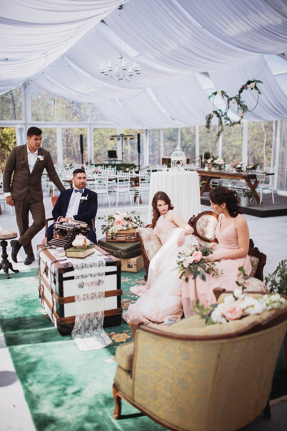 Bridal party relaxes in lounge at Kinloch Grove, Manitoba.