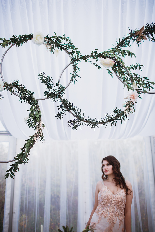 Wedding hoops above head table.