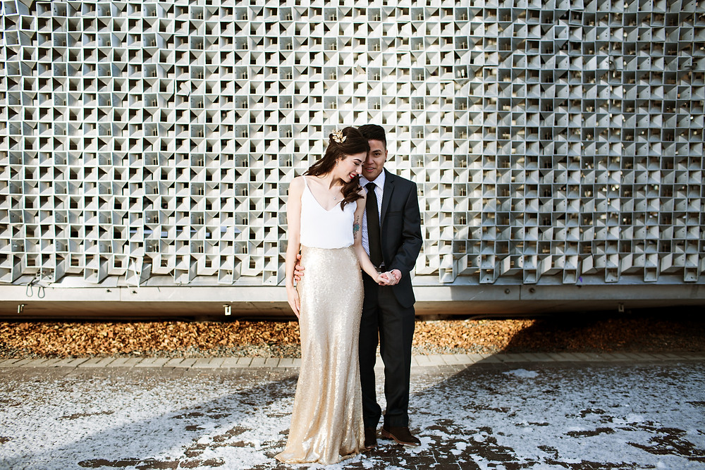 Engagement session at the Cube in Winnipeg, Manitoba.