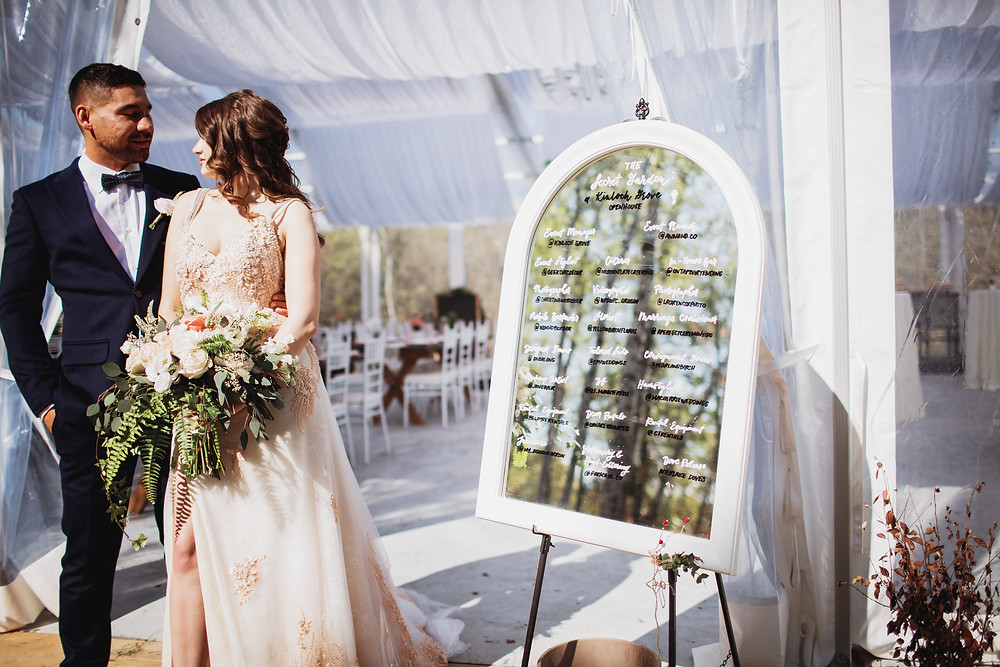 Hand lettered seating chart on mirror.