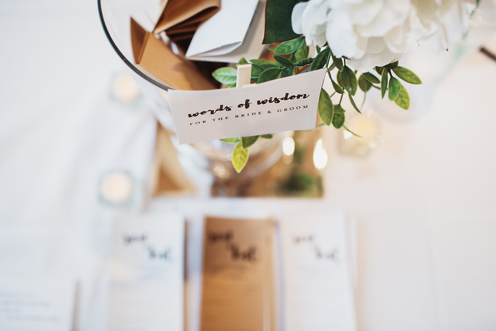 Have guests provide words of wisdom during your wedding reception.
