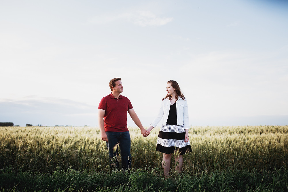 Farm engagement photo session in rural Manitoba.