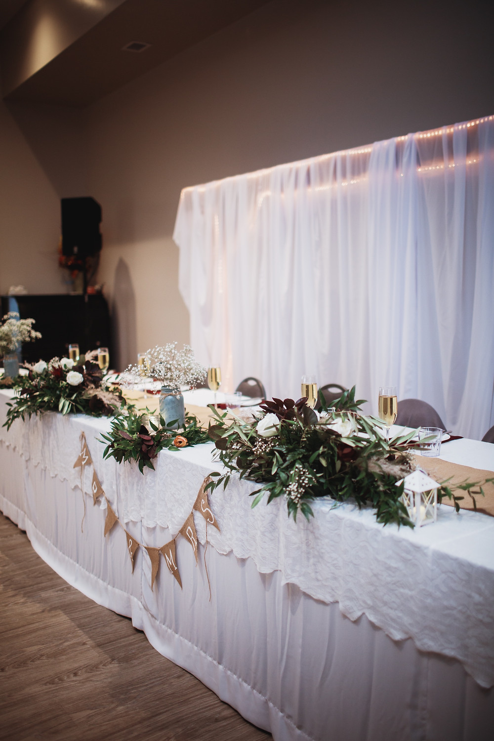 Head table inspiration, fall church wedding in Southern Manitoba.