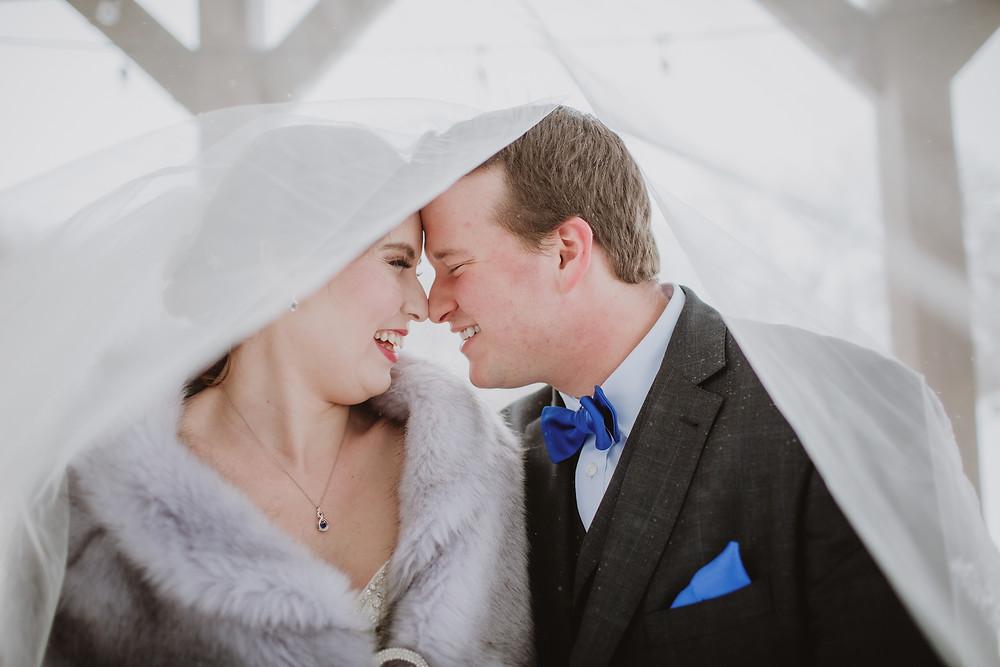 Wedding couple under veil.