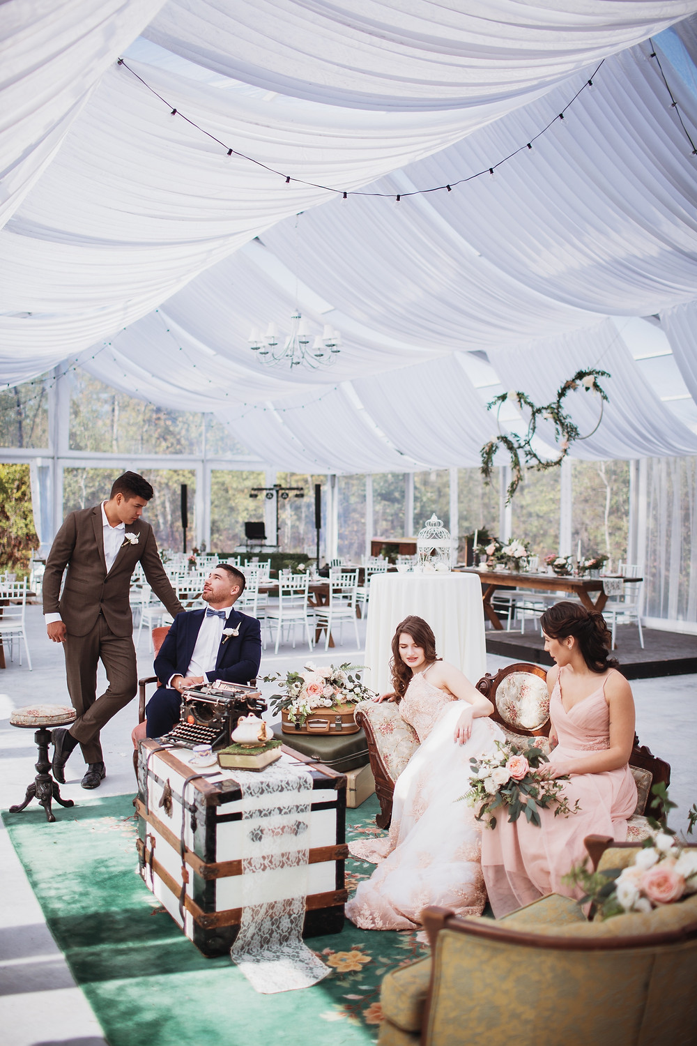 Bridal party lounges in Kinloch Grove, in Matlock, Manitoba.