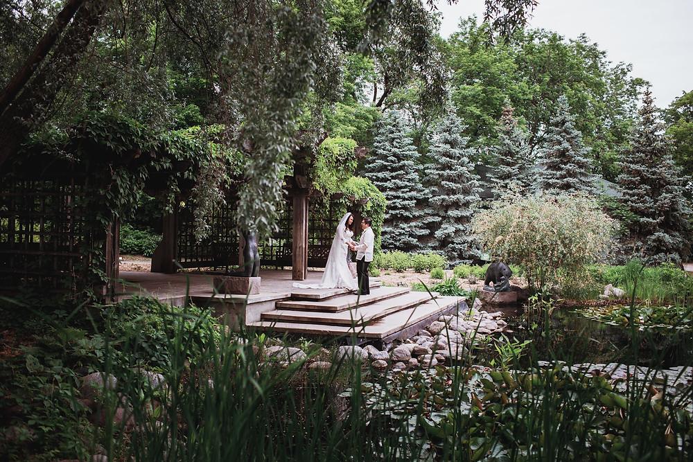 Leo Mol sculpture garden wedding day portraits.