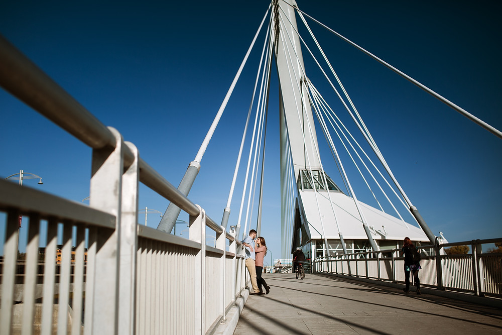 Engagement session on the Provencher Bridge.