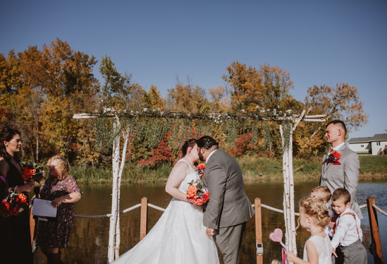 Fall Wedding Ceremony at Rivers Edge Resort