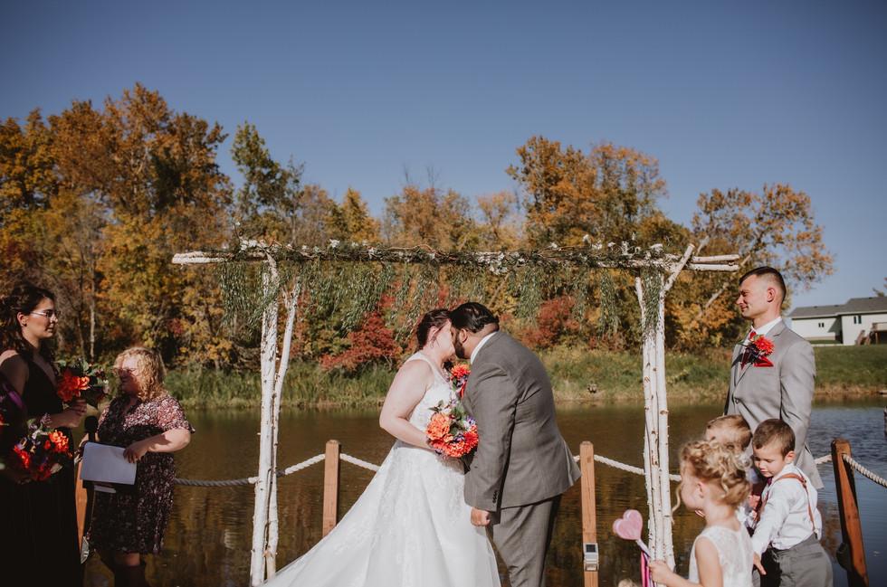 Fall Wedding Ceremony at Rivers Edge Resort