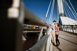 Sunny Engagement Session on the Provencher Bridge