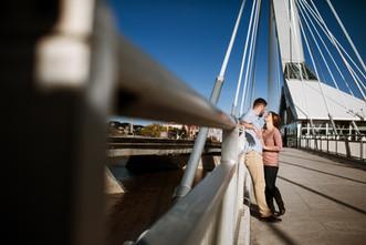 Sunny Engagement Session on the Provencher Bridge