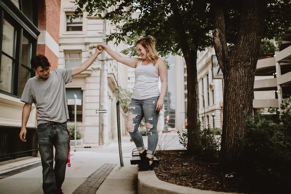 Downtown Winnipeg couple photoshoot.