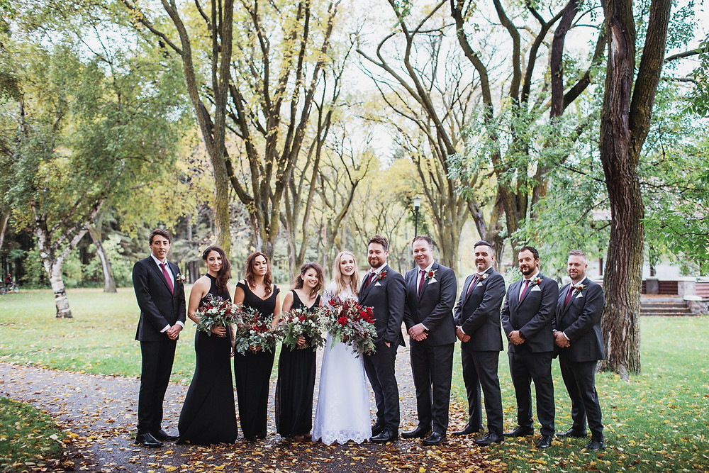 Bridal party inspiration, bridal attendants wearing black. Fall wedding in Clear Lake, Manitoba.