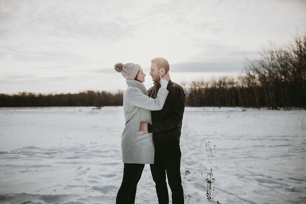 Prairie winter sunset engagement photoshoot.