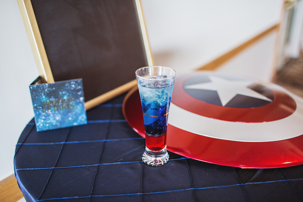 Captain America-themed cocktail with Captain America shield.