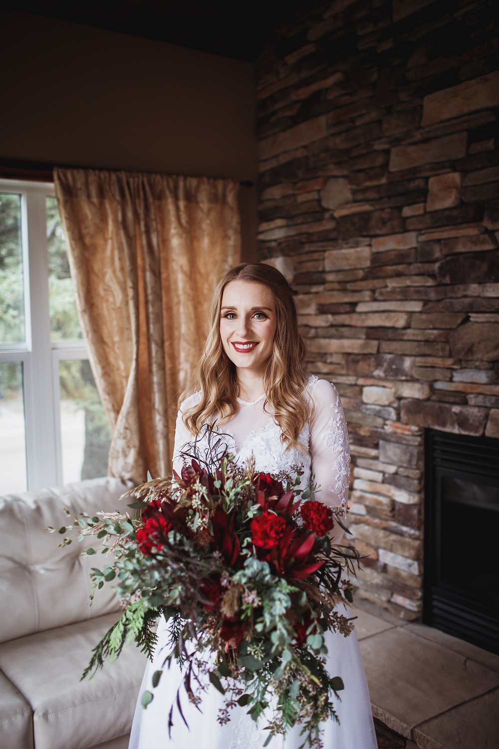 Manitoba brides, with hearty fall bridal bouquet in Clear Lake, Manitoba.