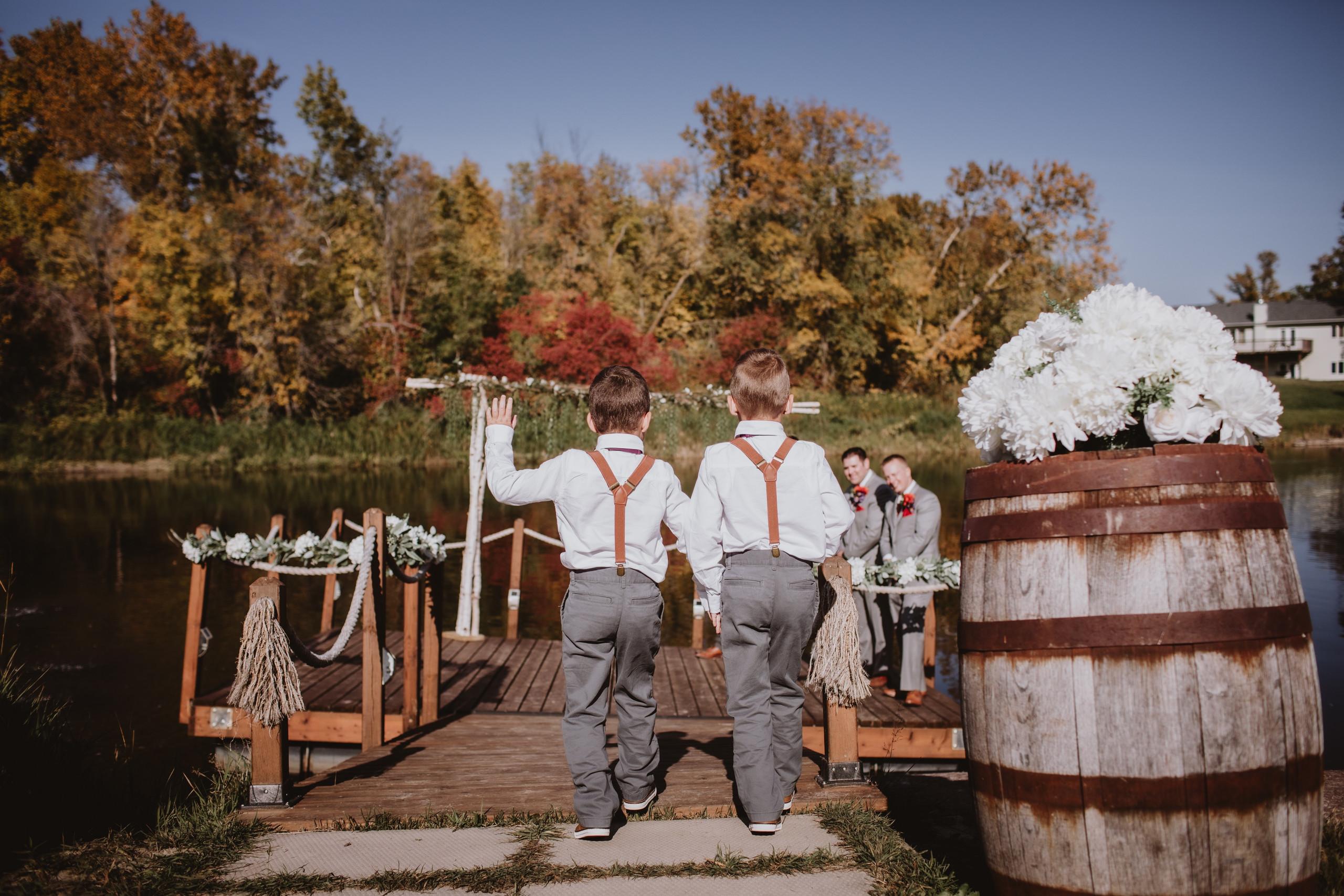 Suspenders for Ring Bearers for fall, riverside wedding.