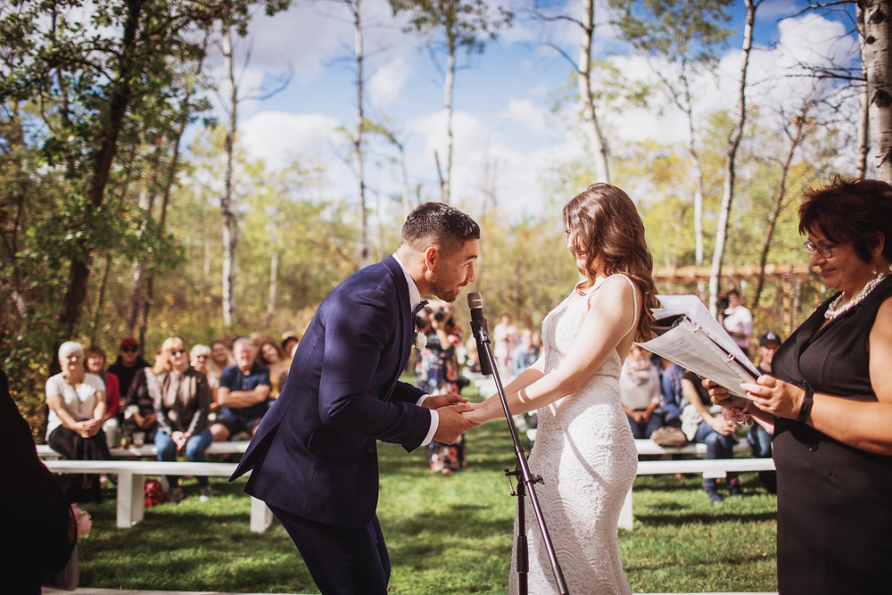 Mock wedding ceremony in gorgeous outdoor space.