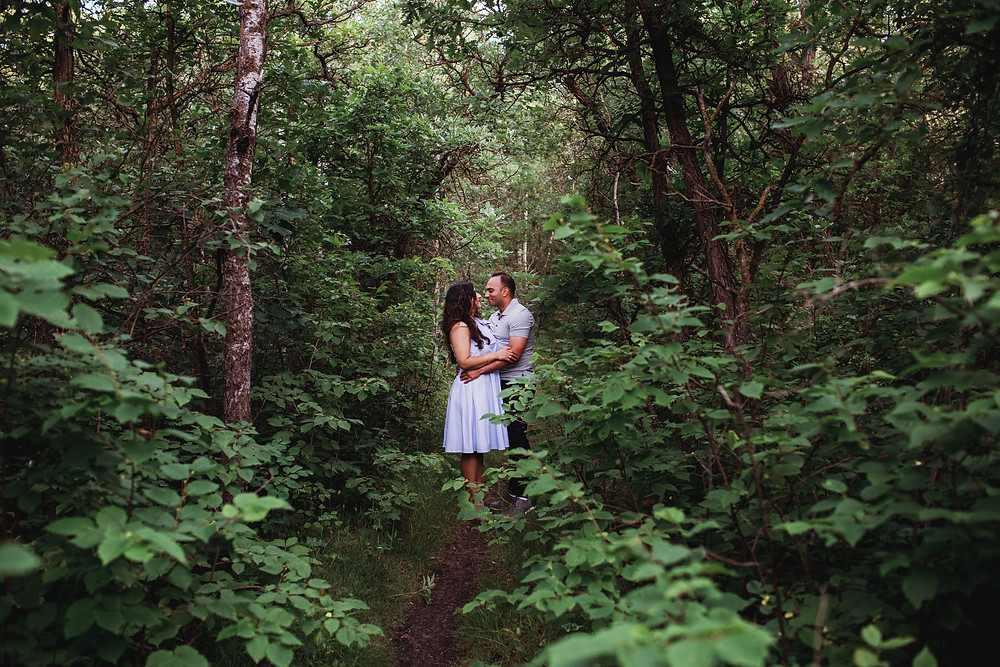 Engagement photoshoot in Winnipeg forest.