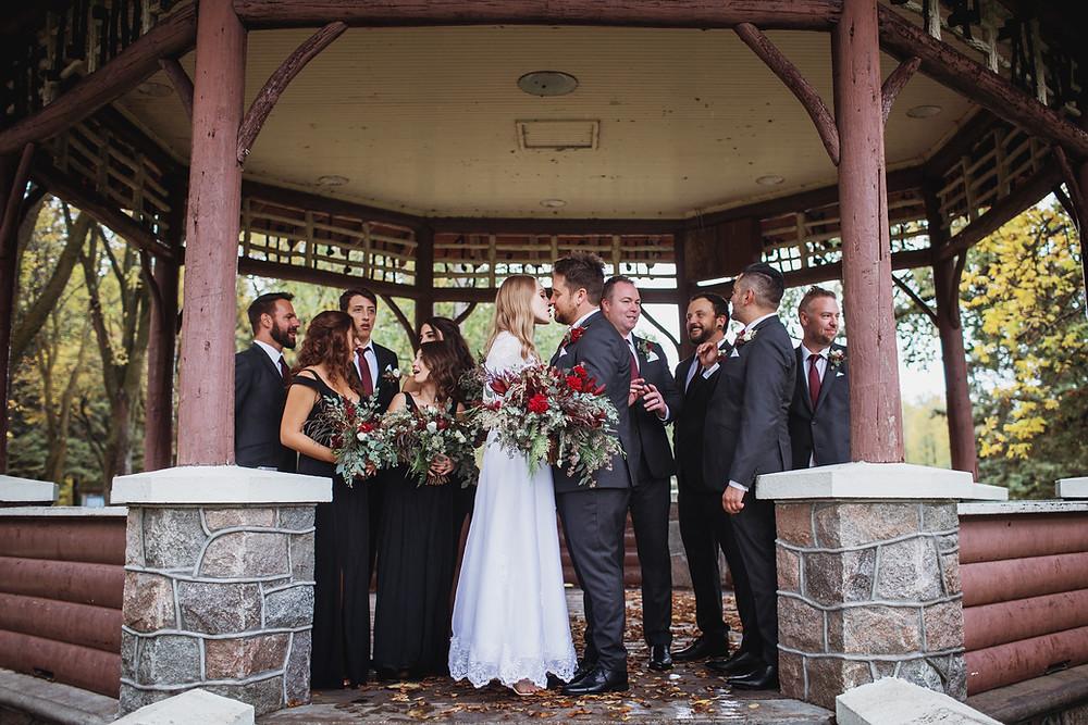 Wedding party, fall wedding in Clear Lake, Manitoba.