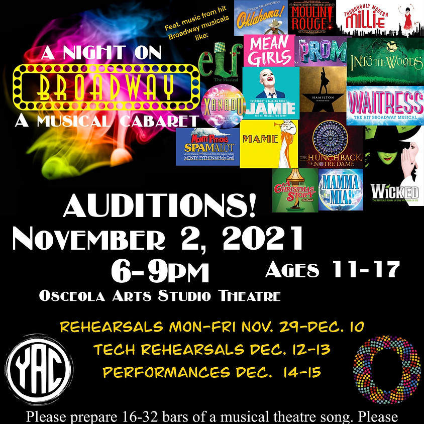 """Audition Sign Up for """"A Night on Broadway: A Musical Cabaret"""""""