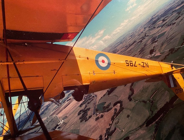 Upside down in the Tigermoth above the Canterbury Plains