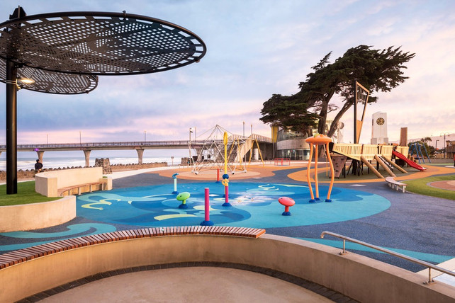 The completed design of the splash park area at New Brighton