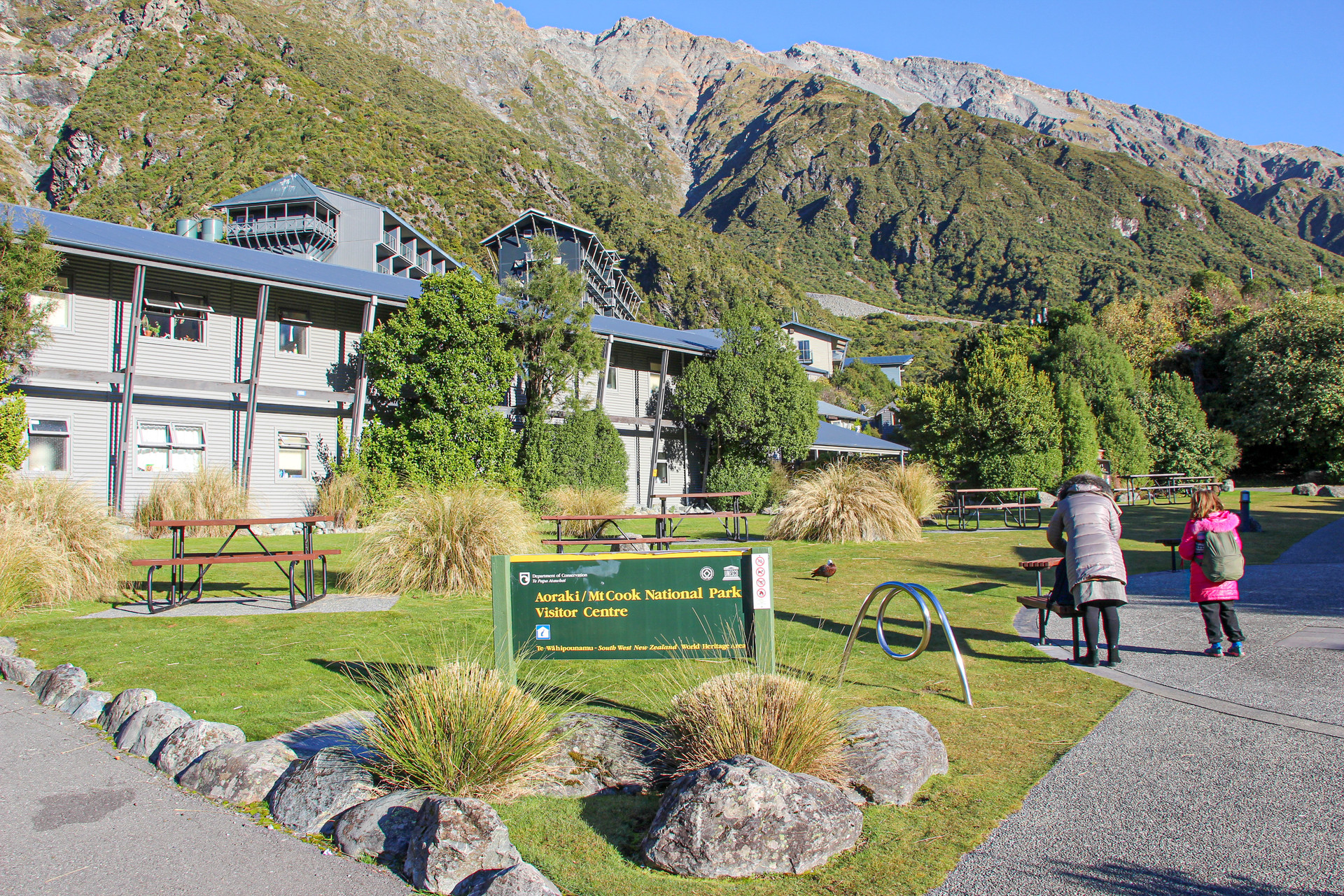 signage and seating design at mount cook village