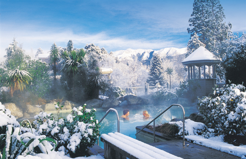 Hanmer themal pools landscape in winter snow
