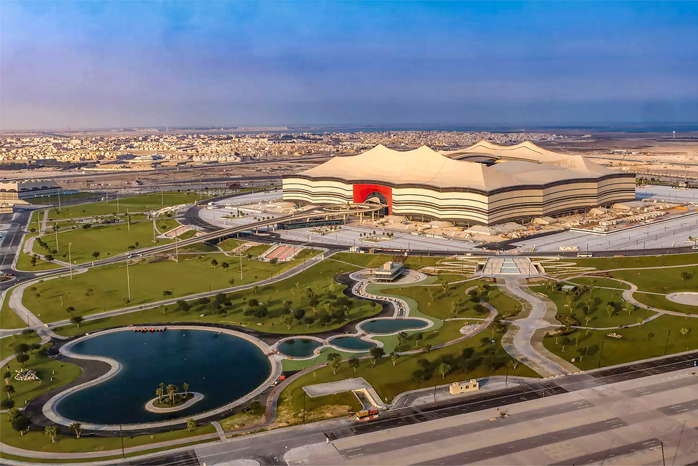 Aerial of the landscape design at Al Bayt Stadium, Qatar